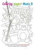 Χρωματίζοντας σελίδες για τη μουσική ελεύθερη απεικόνιση δικαιώματος