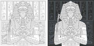 Χρωματίζοντας σελίδες με το αιγυπτιακό pharaoh απεικόνιση αποθεμάτων