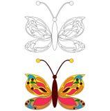 Χρωματίζοντας σελίδα πεταλούδων Στοκ Εικόνα