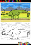 Χρωματίζοντας σελίδα δεινοσαύρων diplodocus κινούμενων σχεδίων Στοκ Εικόνες