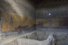 Χρωματίζοντας σε ένα σπίτι της Πομπηίας, μια αρχαία ρωμαϊκή πόλη που καταστρέφεται Στοκ Εικόνες