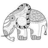 Χρωματίζοντας σελίδα βιβλίων για τους ενηλίκους Ελέφαντας Στοκ εικόνα με δικαίωμα ελεύθερης χρήσης