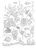 Χρωματίζοντας σελίδα βιβλίων θάλασσας απεικόνιση αποθεμάτων