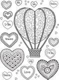 Χρωματίζοντας σελίδα για τους ενηλίκους για την περισυλλογή και τη χαλάρωση Εικόνα για τη ευχετήρια κάρτα για την ημέρα βαλεντίνω Στοκ Εικόνα