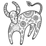 Χρωματίζοντας σελίδα με την αγελάδα κινούμενων σχεδίων Στοκ φωτογραφία με δικαίωμα ελεύθερης χρήσης