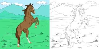 Χρωματίζοντας σελίδα με το άλογο Στοκ εικόνα με δικαίωμα ελεύθερης χρήσης