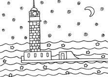 Χρωματίζοντας σελίδα με το φάρο στη θάλασσα νύχτας Στοκ φωτογραφίες με δικαίωμα ελεύθερης χρήσης