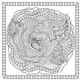 Χρωματίζοντας σελίδα λουλουδιών zentangle Στοκ Εικόνες