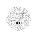 Χρωματίζοντας σελίδα πιάνων Doodle απεικόνιση αποθεμάτων