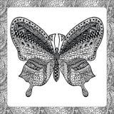 Χρωματίζοντας σελίδα της πίσω πεταλούδας, zentangle illustartion Στοκ Φωτογραφία