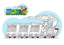 Χρωματίζοντας σελίδα - τραίνο κινούμενων σχεδίων διανυσματική απεικόνιση