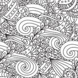 Χρωματίζοντας σελίδες για τους ενηλίκους Διακοσμητικό συρμένο χέρι doodle διανυσματικό περιγραμματικό άνευ ραφής σχέδιο μπουκλών  Στοκ Εικόνα