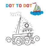 Χρωματίζοντας σημείο βιβλίων στο σημείο Η βάρκα Για τη διδασκαλία Στοκ εικόνα με δικαίωμα ελεύθερης χρήσης