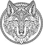 Χρωματίζοντας σχέδιο περιλήψεων βιβλίων λύκων Doodle στο διάνυσμα απεικόνιση αποθεμάτων