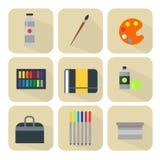 Χρωματίζοντας τέχνης εργαλείων παλετών εικονιδίων καθορισμένος επίπεδος διανυσματικός απεικόνισης λεπτομερειών εξοπλισμός χρωμάτω διανυσματική απεικόνιση