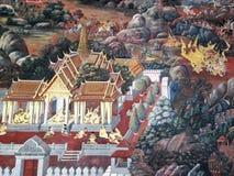 χρωματίζοντας ταϊλανδικός τοίχος Στοκ Εικόνα