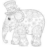 Χρωματίζοντας τη σελίδα, κρατήστε μια χαριτωμένη εικόνα ελεφάντων για τα παιδιά, απεικόνιση ύφους τέχνης γραμμών για τη χαλάρωση διανυσματική απεικόνιση