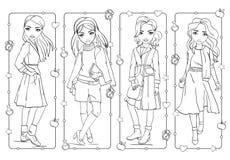 Χρωματίζοντας χαριτωμένα κορίτσια βιβλίων σε ομοιόμορφο στο σχολείο ελεύθερη απεικόνιση δικαιώματος