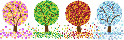 χρωματίστε τέσσερα δέντρα &e Στοκ Εικόνα