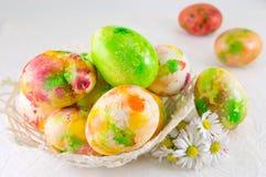 Χρωματισμένα αυγά Πάσχας και λουλούδια μαργαριτών Στοκ Εικόνες