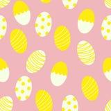 Χρωματισμένα αυγά Πάσχας με το άνευ ραφής υπόβαθρο τυπωμένων υλών σχεδίων λωρίδων και σημείων διανυσματική απεικόνιση