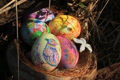 Χρωματισμένα αυγά Πάσχας που κρύβονται στη χλόη, έτοιμη για το παραδοσιακό παιχνίδι παιχνιδιού κυνηγιού αυγών Πάσχας Στοκ Εικόνα
