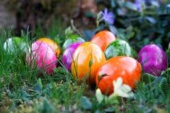 Χρωματισμένα αυγά σε έναν κήπο Στοκ φωτογραφία με δικαίωμα ελεύθερης χρήσης