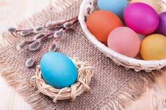 Χρωματισμένα αυγά σε ένα καλάθι με την ιτιά Στοκ Εικόνες