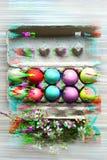 Χρωματισμένα αυγά στο δίσκο αυγών Επίδραση δυσλειτουργίας o Εορτασμός διακοπών, προετοιμασία Κυνήγι αυγών Λουλούδι Υγιής και ευτυ στοκ εικόνες