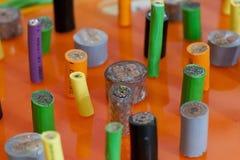 Χρωματισμένα βιομηχανικά καλώδια Στοκ Φωτογραφίες