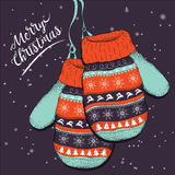 Χρωματισμένα γάντια Σχέδιο καρτών Χαρούμενα Χριστούγεννας επίσης corel σύρετε το διάνυσμα απεικόνισης Στοκ Φωτογραφία