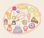 Χρωματισμένα γλυκά εικονιδίων Στοκ Φωτογραφίες