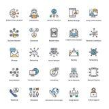 Χρωματισμένα διανύσματα δικτύων και επικοινωνίας καθορισμένα Στοκ Φωτογραφίες