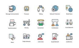 Χρωματισμένα εικονίδια δικτύων και επικοινωνίας Στοκ φωτογραφία με δικαίωμα ελεύθερης χρήσης