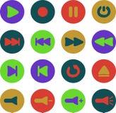 Χρωματισμένα εικονίδια συσκευών αναπαραγωγής πολυμέσων Διανυσματική απεικόνιση