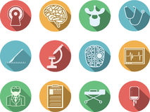 Χρωματισμένα εικονίδια για τη νευροχειρουργική Στοκ Φωτογραφίες
