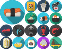 Χρωματισμένα εικονίδια για τις ιαπωνικές επιλογές εστιατορίων Στοκ εικόνες με δικαίωμα ελεύθερης χρήσης