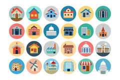 Χρωματισμένα εικονίδια 1 κτηρίων οριζόντια Στοκ Εικόνες