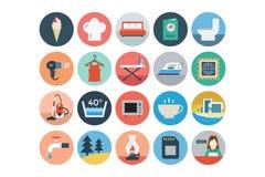 Χρωματισμένα εικονίδια 4 ξενοδοχείων και εστιατορίων οριζόντια Στοκ φωτογραφίες με δικαίωμα ελεύθερης χρήσης