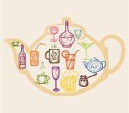 Χρωματισμένα εικονίδια ποτά Στοκ Εικόνες