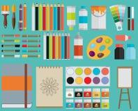 Χρωματισμένα επίπεδα εικονίδια απεικόνισης σχεδίου διανυσματικά καθορισμένα Στοκ Εικόνες