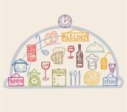 Χρωματισμένα εργαλεία κουζινών εικονιδίων Στοκ εικόνα με δικαίωμα ελεύθερης χρήσης