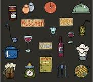 Χρωματισμένα εργαλεία κουζινών εικονιδίων Στοκ Εικόνες