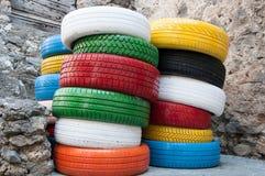 Χρωματισμένα ελαστικά αυτοκινήτου Στοκ Εικόνες