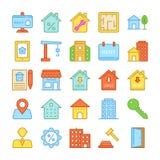 Χρωματισμένα διανυσματικά εικονίδια 4 ακίνητων περιουσιών Στοκ Εικόνες