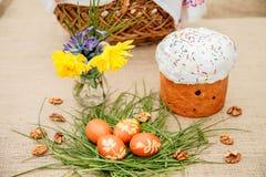 χρωματισμένα κέικ αυγά Πάσχας Στοκ εικόνες με δικαίωμα ελεύθερης χρήσης