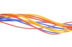 Χρωματισμένα καλώδια που χρησιμοποιούνται στα ηλεκτρικά και δίκτυα υπολογιστών Στοκ Φωτογραφία