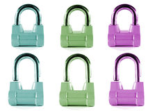 χρωματισμένα κλειδώματα π& στοκ φωτογραφίες