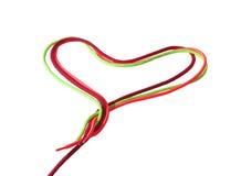 Χρωματισμένα κορδόνια υπό μορφή καρδιάς Στοκ φωτογραφίες με δικαίωμα ελεύθερης χρήσης