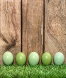 Χρωματισμένα κρητιδογραφία αυγά στις πράσινες διακοπές Πάσχας χλόης Στοκ εικόνα με δικαίωμα ελεύθερης χρήσης